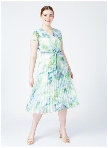 Selen Selen Kadın Yeşil Desenli Elbise Yeşil